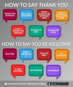 Ways to say 'Thank you' and 'You're welcome' in English Learn English Grammar, English Writing Skills, English Vocabulary Words, Learn English Words, Grammar And Vocabulary, English Phrases, English Language Learning, English Lessons, Teaching English