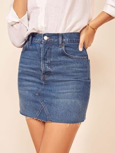 This is a slim fitting, rigid denim mini skirt with a high rise and a raw edged hem. The Cherry pairs well with the Alex Slim Tee. Denim Skirt Outfits, Denim Mini Skirt, Mini Skirts, Tight Skirts, Jean Skirts, Work Fashion, Runway Fashion, Fashion Clothes, Fashion Outfits