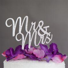 Cake Topper Mr Mrs Wedding Cake Topper (Rhinestone Crystal Faux Diamond Decoration) - Charmerry