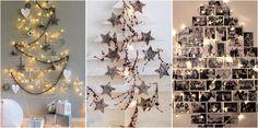 Si vives en una casa pequeña, la mejor idea es crear nuestro árbol en la pared.
