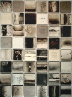 "Liaison 2010, encaustic on panel, 12""x12"" panels, grid of 48 panels. Collaboration of Kandy Lozano / Mark Rediske"