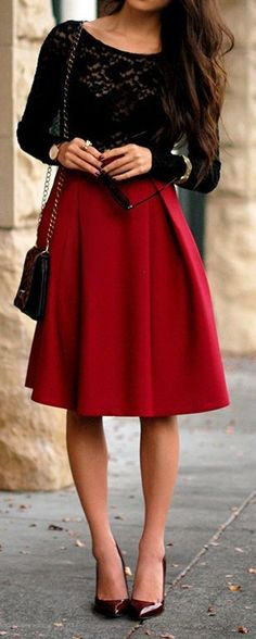 Red skirt with lace shirt. I usually am not too fond of the longer skirt trend, but this one is the perfect length !
