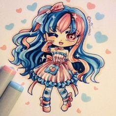 Random chibi design => I wanted to do bubblegum-ish colours. #otherpw
