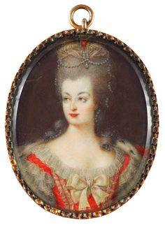 Miniature Portrait of Marie Antoinette, 18th Century.