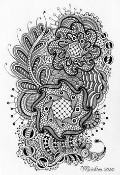 Zentangle art_gelpen, Viktoriya Crichton.