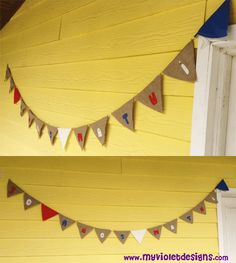 Banderines de alpillera y colores de nacional, con letras. myvioletdesigns.com