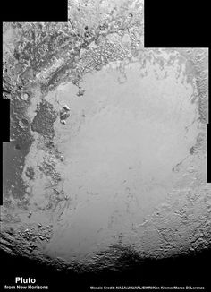 Global Pluto Mosaic From New Hi Res Imagery Reveals Bewildering Diversity and Complexity! A new global mosaic view of Pluto was created from the latest high-resolution images to be downlinked from NASA's New Horizons spacecraft and released on Sept. 11, 2015. The images were taken as New Horizons flew past Pluto on July 14, 2015, from a distance of 50,000 miles (80,000 kilometers). This new mosaic was stitched from over two dozen raw images captured by the LORRI imager and colorized.