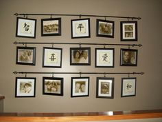 3 Curtain Rods, 15 Shower Curtain Rings with clips on the ends; scraps of ribbon (to loop through picture holder on back of frame and tied into a ring, long enough to  be clipped on curtain rings; misc photo frames to hold family photos, printed in sepia tones; Chinese script photos (I found these at Family Dollar for very little $$)