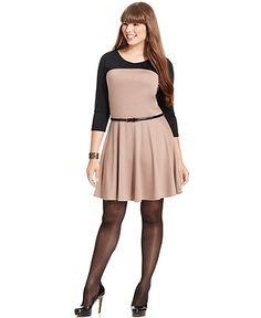 ING Plus Size Dress, Three-Quarter-Sleeve Colorblocked Belted - Plus Size Dresses - Plus Sizes - Macy's