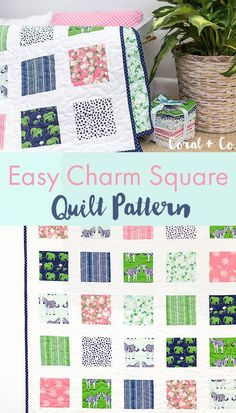 Easy Beginner Charm Square Quilt Pattern - Sew up quickly, Safari Party Blog Tour - Coral and Co.