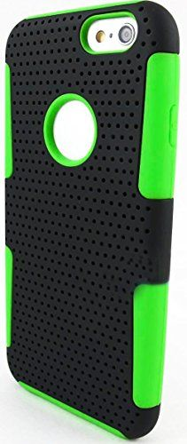"myLife 2 Layer Neo Hybrid Bumper Case for iPhone 6 Plus (5.5"" Inch) by Apple {Shadow Black + Radioactive Green ""Perforated Mesh Net"" Two Piece SECURE-Fit Rubberized Gel} myLife Brand Products http://www.amazon.com/dp/B00PT4AR96/ref=cm_sw_r_pi_dp_Md2Cub02YHVWQ"