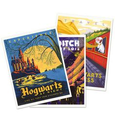 Whoa!     Harry Potter Travel postcards. How fun would it be to make a shadow box in your library with these? You could put a movie stub and a copy of the book cover in it, too. You could also do this with other books you like (Chronicles of Narnia, Hunger Games, etcetera).