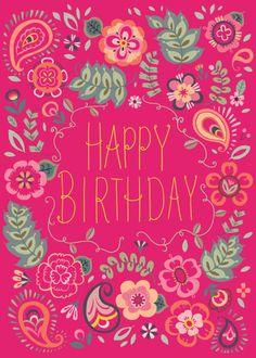 Pimlada Phuapradit - Paisley Floral Birthday Card