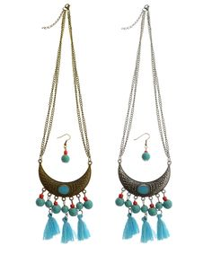 P.S. I Love You More Boutique   Turquoise Crescent Necklace & Earring Set   Trendsetting Women's Fashion Boutique