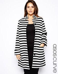 ASOS Curve Exclusive Coat in Stripe