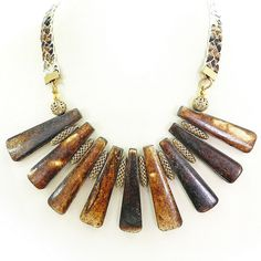Tribal spike necklace - rustic brown - ethnic
