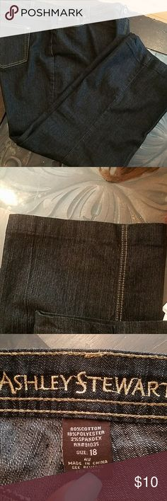 Ashley Stewart Jeans Dark Blue denim. EUC. Size 18 average. These jeans have been taken up at the hem and are now a 28 inseam. Boot cut. Has a small stain on the leg but not noticeable. Look like nail polish. See last picture. Ashley Stewart Jeans Boot Cut