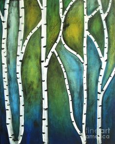 Aspen Print featuring the painting Aspen Trees by Vesna Antic