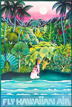 Pacifica Island Art Fly Hawaiian Air - Hawaii Women on the Beach - Hawaiian Airlines - Vintage Airline Travel Poster - Premium Giclée Art Print - x Retro Poster, Poster S, Vintage Travel Posters, Hawaii Vintage, Vintage Hawaiian, Retro Airline, Vintage Airline, Airline Travel, Travel Ads