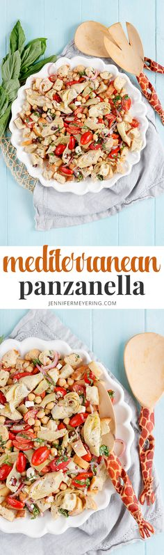 Mediterranean Panzanella Salad - A classic bread and tomato salad made with toasted ciabatta bread, chickpeas, artichokes, and olives and is the prefect summer salad. Healthy Salad Recipes, Lunch Recipes, Cooking Recipes, Healthy Food, List Of American Foods, A Food, Good Food, Warm Salad, Top Recipes