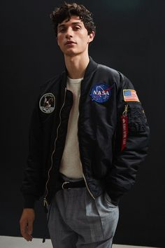 Shop Alpha Industries NASA Bomber Jacket at Urban Outfitters today. We carry all the latest styles, colors and brands for you to choose from right here. Nasa Bomber Jacket, Bomber Jackets, Alpha Industries Nasa, Nasa Clothes, Poses, Swagg, Cute Guys, Pretty Boys, Queen