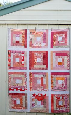 Red Pepper Quilts: A Log Cabin ~ Block Swap Quilt: Not your traditional red & white log cabin!