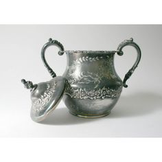 Antique Pairpoint Quadruple Plate sugar bowl 338 gray grey silver... ($40) ❤ liked on Polyvore featuring home, kitchen & dining, serveware, silver sugar bowl, silver serveware, grey plates, silver plate and gray plates