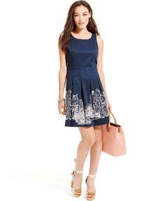 Tommy Hilfiger Pleated Skyline-Print Dress - Dresses - Women - Macy's