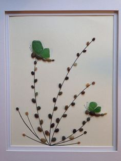 genuine green sea glass art pebble art dragonflies collage wall decor framed artwork home decor unique gift big sur california - Life ideas Collage Mural, Wall Collage Decor, Frame Wall Decor, Sea Glass Crafts, Sea Glass Art, Stained Glass Art, Stone Crafts, Rock Crafts, L'art Du Vitrail