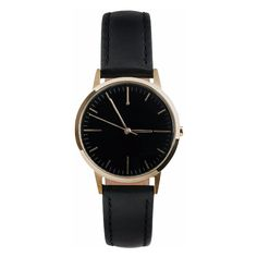 Gold & Black Watch, Small (255 NZD) ❤ liked on Polyvore featuring jewelry, watches, accessories, bracelets, black and gold jewelry, black and gold watches, vintage style watches, leather strap watches and vintage style jewellery