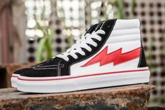 d491ec4fc949 Vans Kanye Revenge x Storm Red Black White Lightning SK8 Hi Skate Shoes  Skater Girl Outfits
