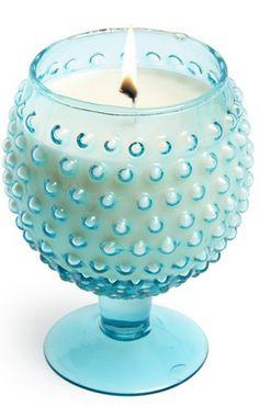 Aqua Hobnail Candle