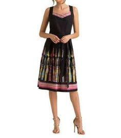 The sleeveless Cara sundress by Leona Edmiston features black cotton fabric with the Katrini Kin print. Business Professional Dress, Professional Dresses, Work Dresses For Women, Clothes For Women, Leona Edmiston Dresses, Australian Fashion Designers, Frock Dress, Green Floral Dress, Stretch Dress