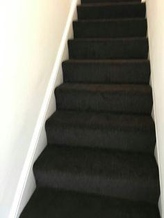 Dark brown carpet on stairs