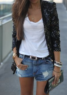 Sequined blazer, white tee, shorts.