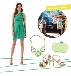 Love the springy green dress and gold accessories (it reminds me of my bridesmaids!)