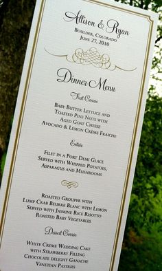 Tea Length Wedding Menu Cards - Flourish Sample