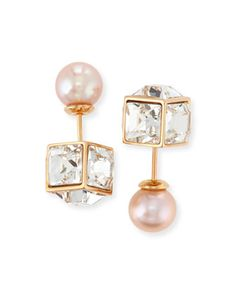 Crystal & Pearl Double Cubo Earrings by Vita Fede at Bergdorf Goodman.