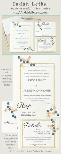 Navy Gold Blush Wedding Invitation Suite Modern Wedding Template Printable Invite Kit Invitations ----------------------------------------------------------------------------------------------------------------------------------------------------- You can edit and print as many as you need. Print on white/cream 80lb+ cardstock for a modern wedding invitation. I do offer color changes, wording and layout adjustments, simply please request a custom order and I will quickly respond! 💍 JOI...