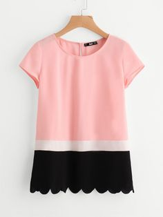 Sewing Top Shop Scallop Hem Cut And Sew Top online. SheIn offers Scallop Hem Cut And Sew Top Top Chic, Casual Outfits, Cute Outfits, Casual Wear, Make Your Own Clothes, Mode Top, Moda Casual, Whimsical Fashion, Cute Shirts