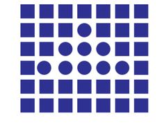 Gestalt law of similarity can be seen in this image as the color of the shapes are all blue. Also, they are grouped together. The shapes share the same color, size and grouping which will be seen by the viewers as belonging to the same group.   Source: http://facweb.cs.depaul.edu/sgrais/gestalt_principles.htm