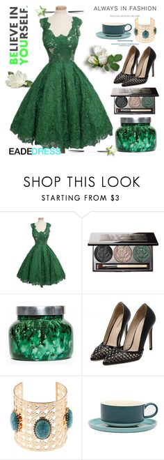 """Green Dress By EadeDress 39/60"" by esma178 ❤ liked on Polyvore featuring Chantecaille, Capri Blue and Jansen+Co"