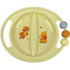 ABC-lautanen, 2-osainen, pyörivät helmet Baby Pooh    Nalle Puh ABC- lastenastiat on valmistettu turvallisesta ja mikronkestävästä polypropyleenista.    ABC- lautasessa on kätevät kahvat, joista toisessa on kivat pyörivät helmet. Kulhossa on myös liukumaton pohja.