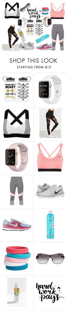 """""""Let's strong together! BFF- sporty girls"""" by lujzazsu ❤ liked on Polyvore featuring No Ka'Oi, NIKE, MANGO, COOLA Suncare, L. Erickson, Prada Sport, Bare Republic, Summer, BFF and sport"""