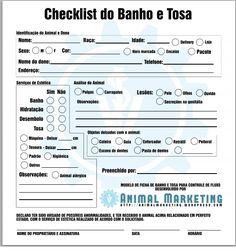 checklist para banho e tosa Pets Shops, Pet Spa, Pet Hotel, Pet Grooming, Social Marketing, Animal Design, Pet Store, How To Get, Animal Shelters