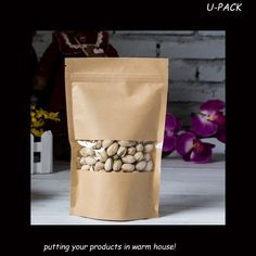 FREE SHIPPING 12*(20+4)cm retail brown kraft food packaging paper bags with window US $23.00