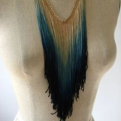 Hand-dipped dyed fringe necklace, $36