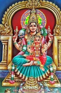 Goddess Parvati(Lalitha Tripurasundari) with her daughter Ashokasundari(Bala Tripurasundari) Indian Goddess, Goddess Of Love, Goddess Lakshmi, Snake Goddess, Hindus, Shri Yantra, Buddha, Shiva Statue, Lord Vishnu Wallpapers