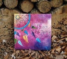 Colorful Dream Catcher Never Stop Dreaming Made to door BecksDesigns Dream Catcher Canvas, Dream Catcher Painting, Diy Canvas, Canvas Wall Art, Sunflower Quotes, Oil Pastel Art, Dandelions, Dreamcatchers, Acrylic Art