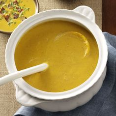 Pumpkin Bisque with Gouda and Bacon